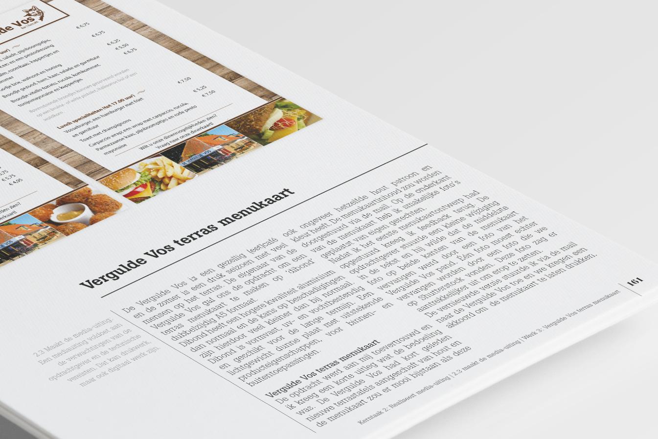 GLR Bewijzenboek Vergulde Vos menukaart pagina