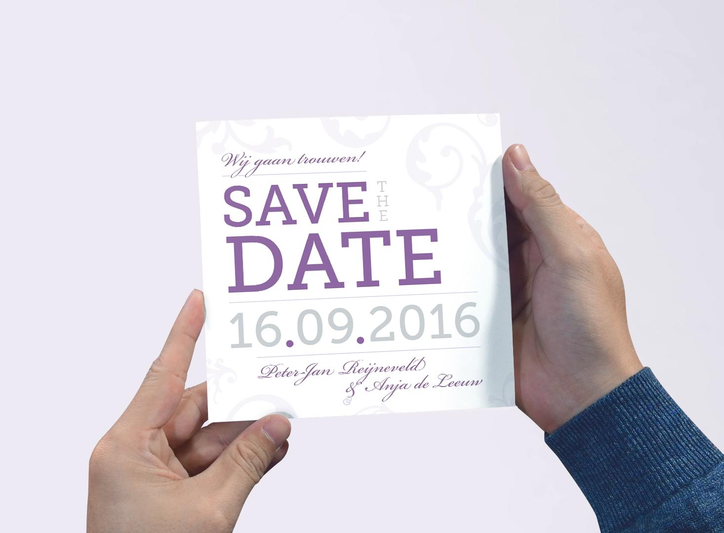 Trouwdag PJ&A - Save the Date kaart