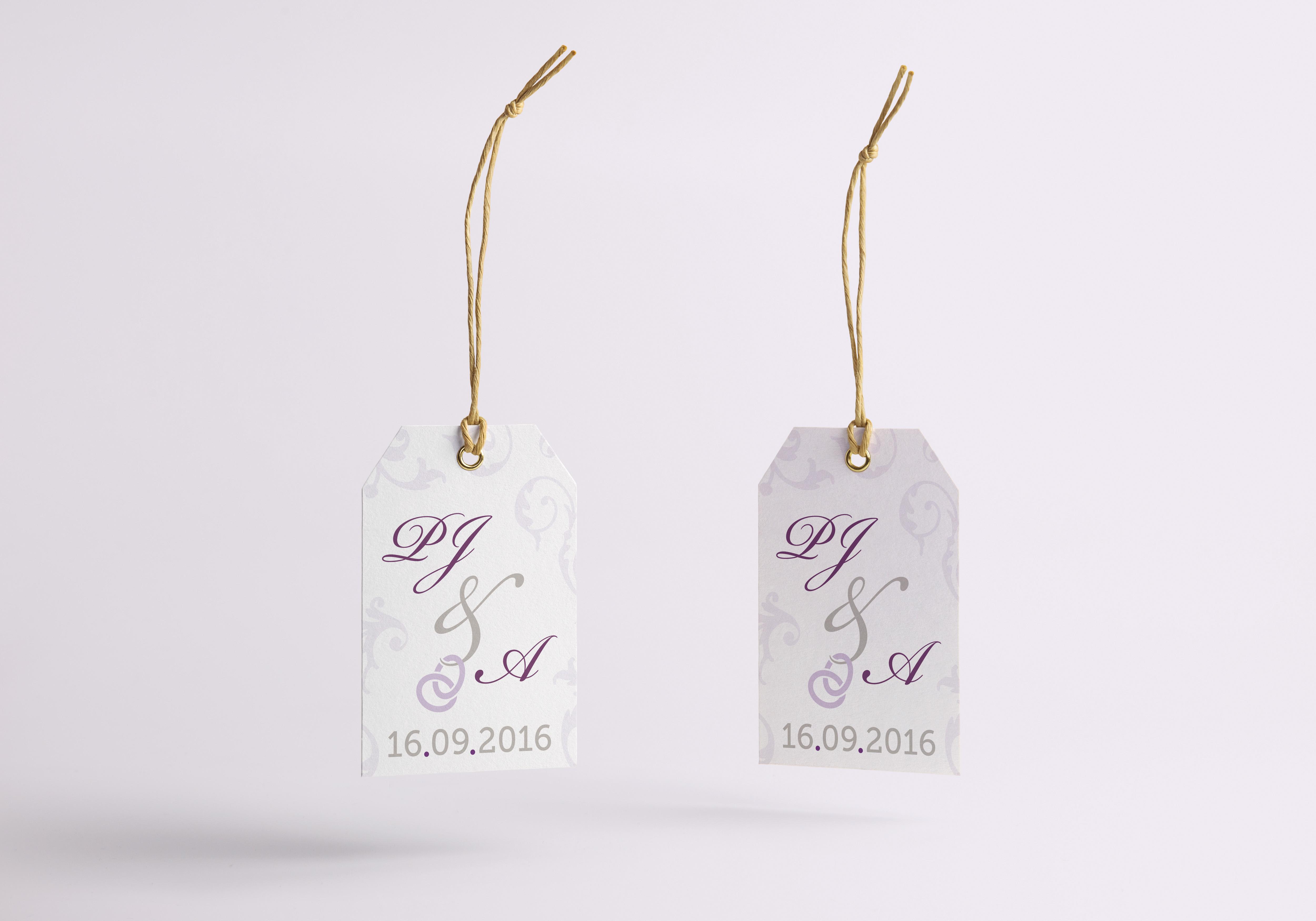 Trouwdag PJ&A - Cadeau label ontwerp